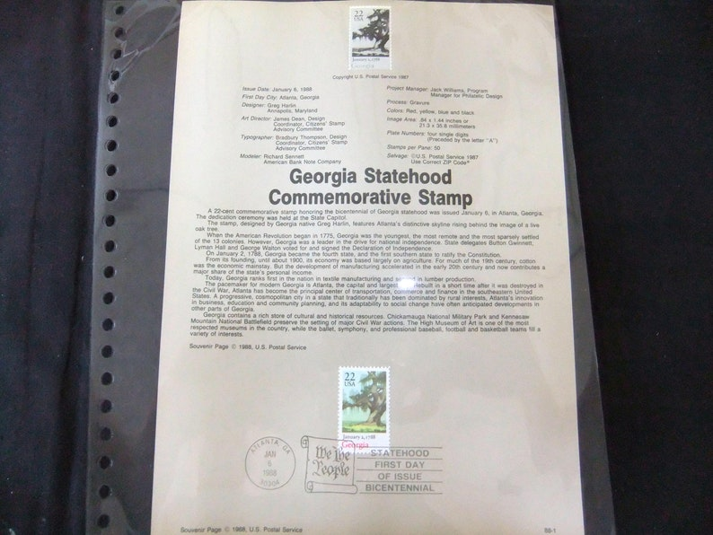1988 Georgia Statehood Stamp First Day Of Issue USPS 88-1 image 0