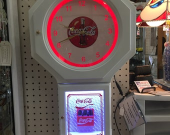 Handcrafted LED Lighted Coca Cola Tribute Clock. - Remote Control
