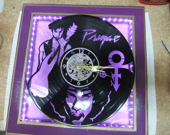 """Handcrafted Prince Clock - 12"""" LP Silhouette - LED Lighted Purple Stained Glass Face - Created in New Bern NC"""