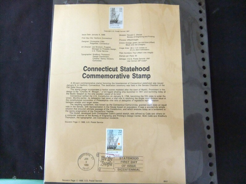 1988 Connecticut Statehood Stamp First Day Of Issue USPS 88-2 image 0