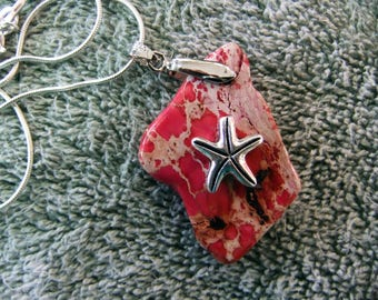 Pendant Handcrafted Coastal Pendant with 925 Silver Plated Chain - Pink Manufactured Stone with S P Star Fish