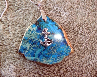 Pendant Handcrafted Coastal Pendant with 925 Plated Chain - Blue Manufactured Stone with S P Anchor
