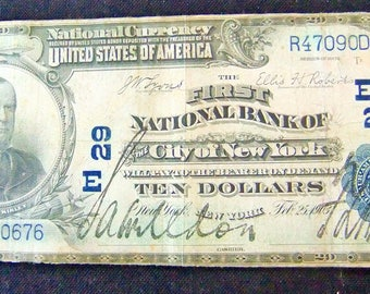 Vintage Currency - 1903 10 Dollar National Currency - The First National Bank Of The City Of New York