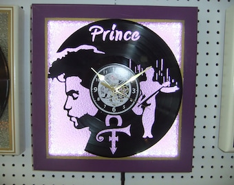 """Handcrafted Prince Clock - 12"""" LP Silhouette Left Face - LED Lighted Purple Stained Glass Face - Created in New Bern NC"""