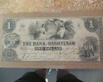 Vintage 1854 Obsolete Currency - Bank of Washtenaw One Dollar Note - May 1st 1854 - Ann Arbor Michigan - Ser 7833