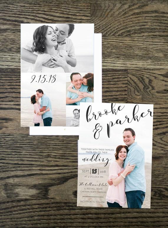 photo collage wedding invitation online wedding invite etsy