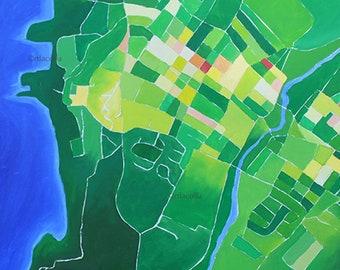 Beacon Map 2 print 11 x 14, Beacon NY, Hudson Valley, map painting