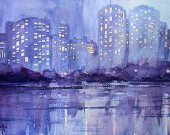 Riverscape orginal watercolor painting 14 x 10