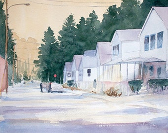 Talking in the Street orginal watercolor painting 16 x 12