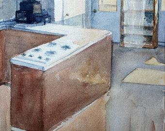 Kitchen orginal watercolor painting 9.6 x 14.25