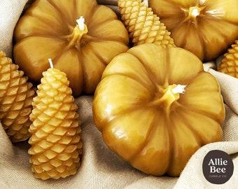 Pumpkin Beeswax Candles| Natural Harvest Decor | Bees Wax Autumn Centerpiece | Fall Pumpkin Patch Decoration | Pure Beeswax Candle | Mabon