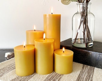 100% Pure Beeswax Candles - 5 Sizes | Yellow Pillar Beeswax Candle for Meditation & Prayer | Altar | Ritual | Unscented | Natural