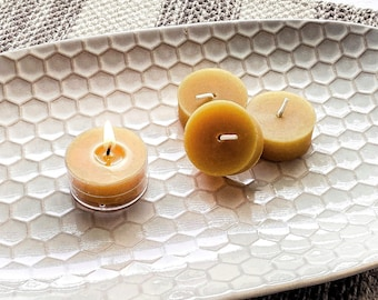 Pure Beeswax Tea Lights - Box Sets | All Natural Beeswax Candle | Bulk Beeswax Candles for Meditation | Bee Wax Tealight Candles | T Lite