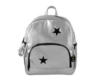 Baby bag, Diaper bag, Backpack diaper bag, Hipster backpack, Baby shower gift, silver vegan backpack, Star ,Diaper bags