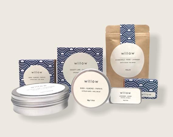 Natural Skincare Gift Set, Organic Body Butter, Lip Salve, Bath Soak, Hand Salve
