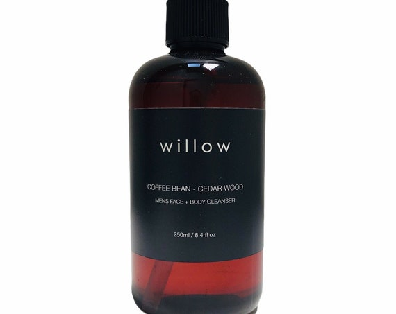 Organic Mens Face & Body Cleanser with Coffee Bean, Kelp and Aloe