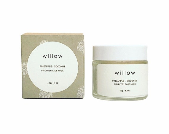 Brighten Face Mask with AHA, Fruit Enzymes, Coconut, White Tea and Neroli. Exfoliating Cleansing Grains.
