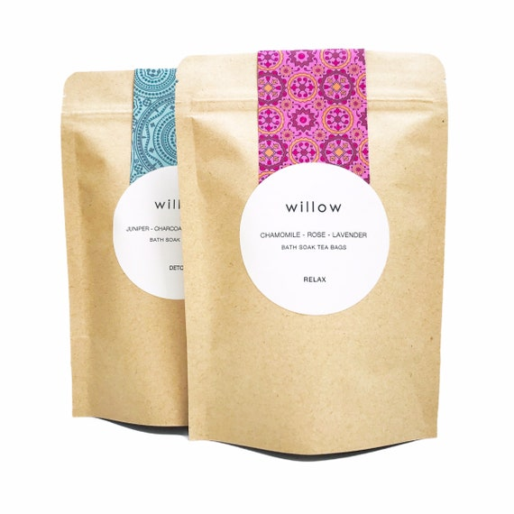 Organic Herbal Bath Bags, Pack of 2. Relaxation Blend with Lavender, Chamomile and Rose, Vegan.