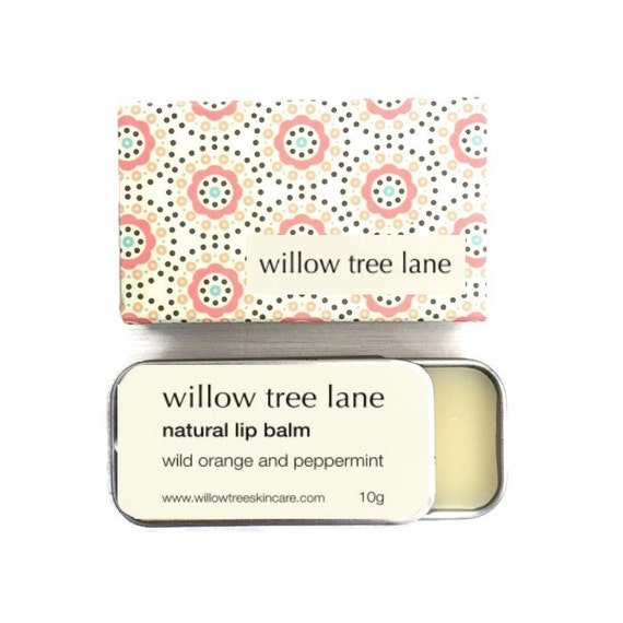 Orange and Peppermint Natural Lip Balm, Vegan lip salve infused with essential oils, sliding tin