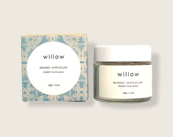 Purify Face Mask with BHA, Seaweed, White Willow, Green Tea and Geranium Leaf. Exfoliating Cleansing Grains.