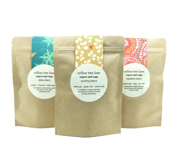Organic Herbal Bath Bags, Relaxation Blend with Lavender, Chamomile and Rose, Vegan
