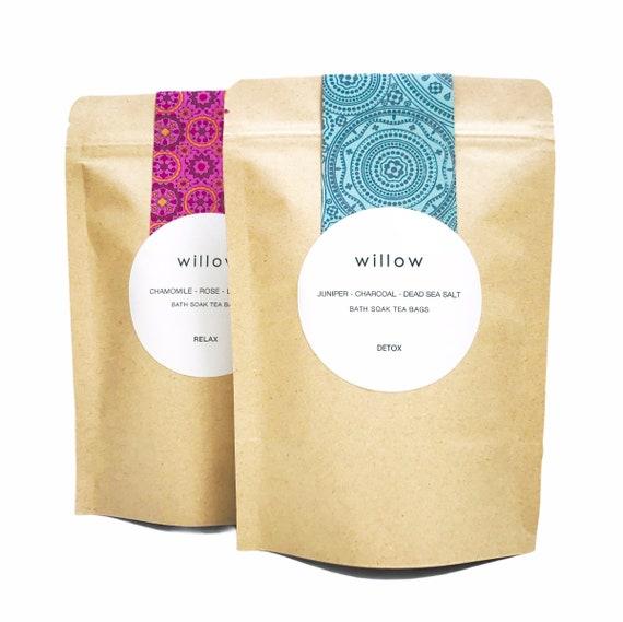 Organic Detox Bath Bags. Pack of 2. Dead Sea Salt, Activated Charcoal and Juniper Berries, Vegan