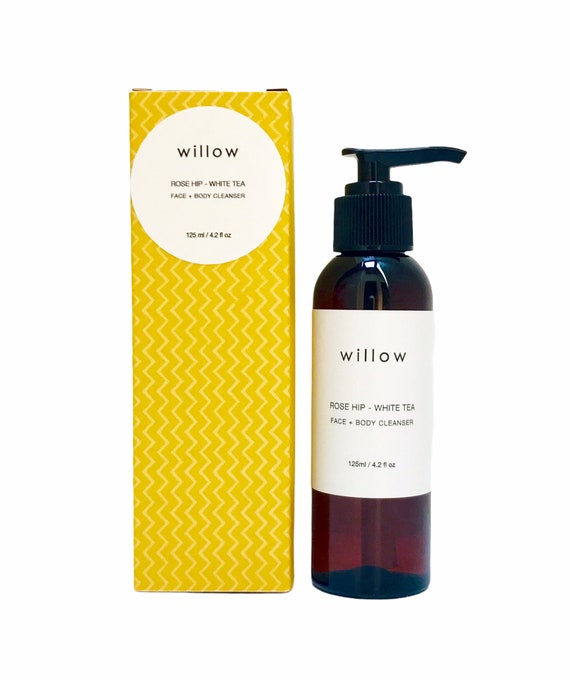 Organic Face and Body Cleanser with White Tea, Aloe and Rose Hip. Two sizes.