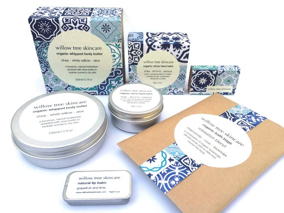 Natural Skincare Gift Set, Organic Body Butter, Lip Salve, Bath Soak, Hand Salve