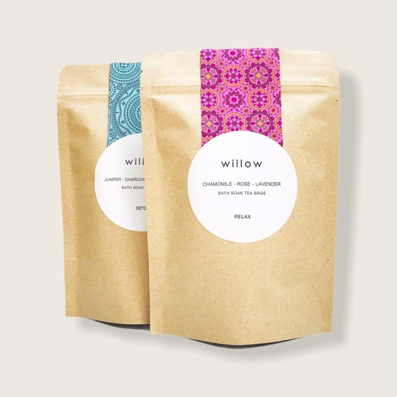 Organic Herbal Bath Bags, Stand Up Pouch containing 2 Bath Bags. Relaxation Blend with Lavender, Chamomile and Rose, Vegan.