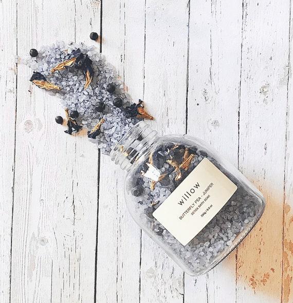 Butterfly Pea and Grapefruit Detox Bath Soak with Resuable Cotton Drawstring Bath Tea Bag.