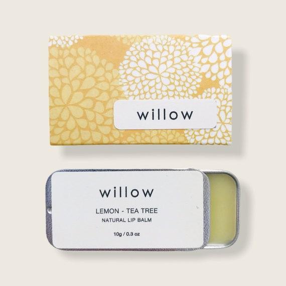 Lemon and Tea Tree Natural Lip Balm, Vegan lip salve infused with essential oils, sliding tin