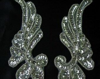 LR17-7 Mirror Pair Floral Sequin Bead Applique Aqua Dancewear//Belly Dance//Tutu