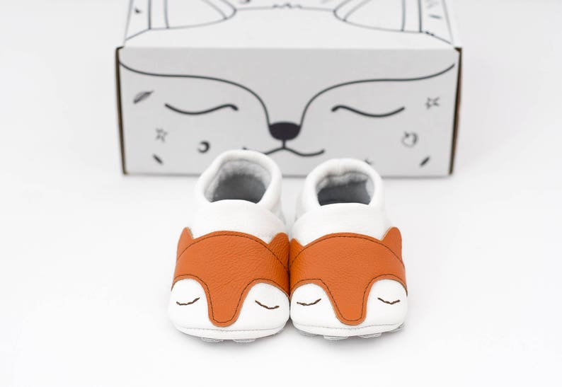 b9bc2458c Fox face baby shoes animal baby shoes baby moccasins white | Etsy