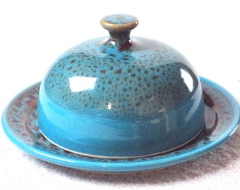 Butter Dish - handthrown ceramic - Turquoise