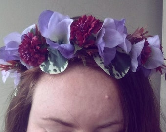 Moody purple and burgundy flower crown