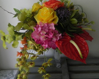 TROPICAL WEDDING BOUQUET and boutonniere 2 pieces  Great for photo shoots as well.