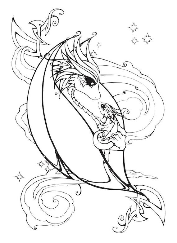 Madre y bebé dragón para colorear página | Etsy