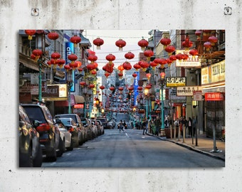 Hanging Lanterns in China Town - Cityscape, Historic, Photography - San Francisco, CA - Fine Art  Print - Canvas Gallery Wrap - Metal Print