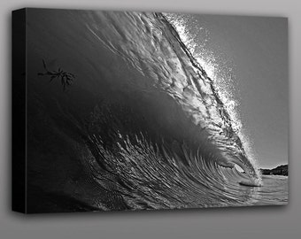 Wave Photography Black and White Beach Wave Surfing Photograph Wall Art Home Decor