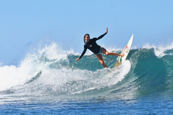 Surf Photography Surfer Girl On A Blue Wave Woman Surfing Photo Print On Metal Canvas Or Paper
