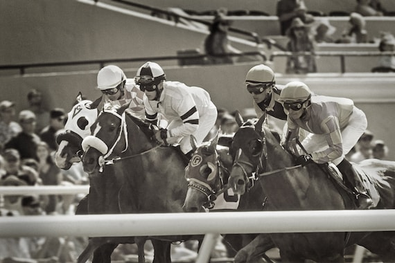 Vintage Horse Racing Photography Black And White Photo Of Etsy