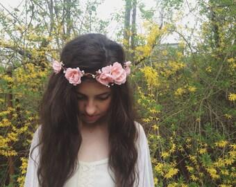 Rustic Pink Flower Crown