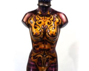 Iron Woman Airbrush Bodypaint Female Mannequin Torso Lamp.