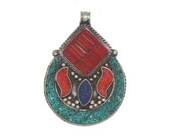 Hamsa pendant Tibet pendant Amber Pendant Lapis pendant Nepal pendant Boho B