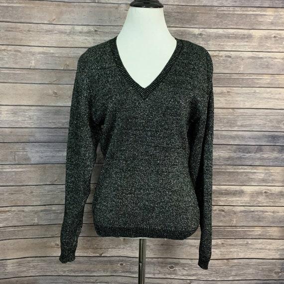 Vintage Kansai Yamamoto Black Metallic Sweater - image 1