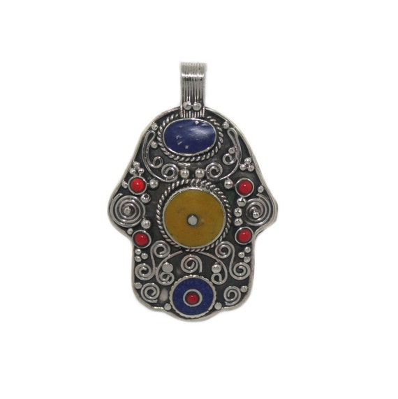 Large Nepali 925 Sterling Silver Lapis Coral Pendant 2 Inches