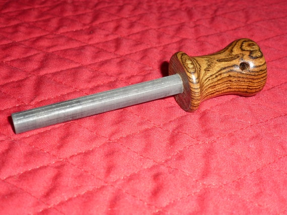 Fire Steel Ferro Rod with Hand Turned Bocote Handle With Hole for 325 Strap