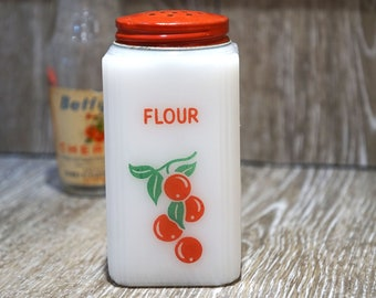 Vintage 1930s McKee Tipp City White Milk Glass Square Flour Shaker with Cherry Design and Original Red Lid