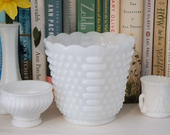 Vintage FireKing Milk Glass Hobnail Planter with Scalloped Edges & Lines