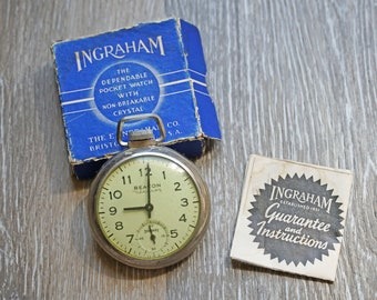 Ingraham Pocket Watch Viceroy Model Easy To Lubricate Vintage & Antique Jewelry